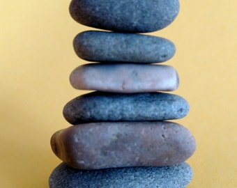 Maine Beach Stone Cairn (c68) Set of 7 Stacked Loose Undrilled Smooth Rocks - Waldorf Art Decor Zen Meditation Wiccan Pagan Classroom Desk