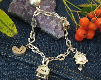 Silver Switzerland themed Charm Bracelet