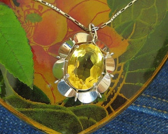 Silver Yellow Stone set Pendant