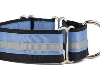 Black Ice Martingale Dog Collar, Italian Greyhound Collar, Small, Medium, Large, Adjustable, Designer, Made in USA, Limited Slip Dog Collar