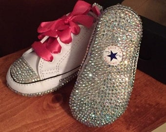 Infant sizes 1-4 Custom bedazzeled soft bottom baby crib shoe