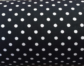 Black and white polka dot cotton fabric