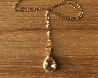 Delicate Layering Necklace with Teardrop Crystal