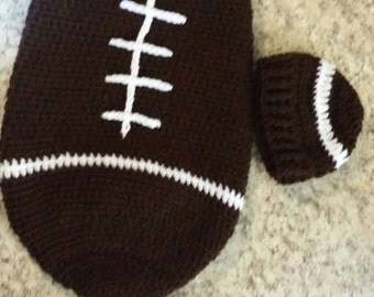Football baby cocoon photo prop