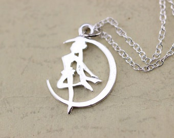 silver Sailor Moon necklace Artemis jewelry Christmas gifts -651-