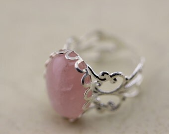 Silver Adjusted Ring Rose Quartz Stone Ring Antique Jewelry Christmas Gifts R167a