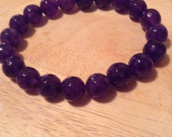 Purple Faceated Agate Beaded Bracelet