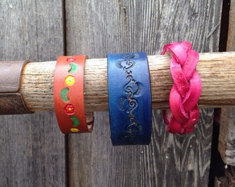 Hippie, hand made, hand dyed leather stacking bracelets