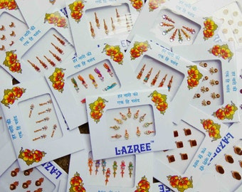 10 bindi packs - mixed designer bindis, bollywood bindis, Fancy bindis, Temporary tattoos, Bindi Jewelry forehead tikka Gems Bellydance