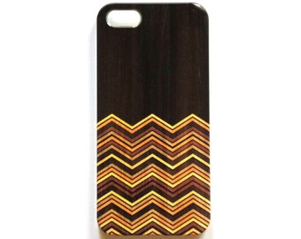 Yellow and orange chevron iPhone case, Wood wrap around design, for iPhone 5/5S case, iPhone 6 case and iPhone 6 plus case
