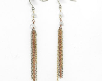 Tassel Rock: Multimetal Tassel and Herkimer Diamond Earrings