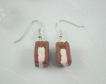 Miniature Ice Cream Sandwich Earrings