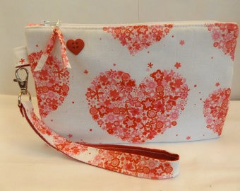"""29At - big heart Clutch with heart button, large - @ 8 1/2""""x 5 1/2"""", cotton, padded, standing, detachable handle, MJSEWS"""