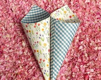 Confetti Cones - Wildflower and Gingham Wedding Confetti Cones - ten heavyweight floral and aqua wedding confetti cones - mix and match!