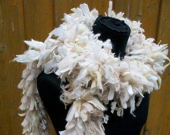 Boa, white mix of materials, hand-woven, lush texture, 3D scarf, mohair Ribbon shells felt fancy yarn, soft, opulent, one of a kind