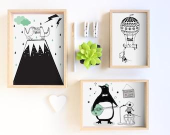 Childrens prints - Flying mouse / Dinosaurs / penguin / childrens decor Print / Kids Room Decor / Nursery Art Print / Kids Interior Design