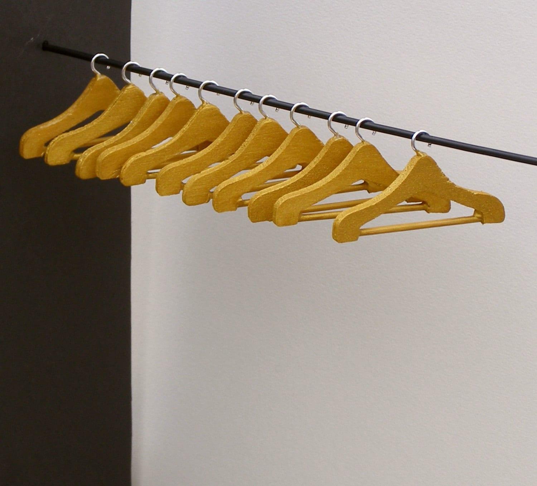 Doll mini coat hanger miniature golden wood hanger unique for Unique coat hangers