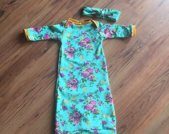 Floral Baby Gown (0-3 months)