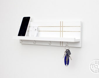 Modern Shelf With Key Hooks - Modern Entryway Wall Storage, Jewelry Rack, Modern  Key
