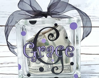 Personalized glass block Money Bank - Piggy Bank - Money Gift Bank - Birthday gift - kids gift idea - kids savings bank - baby shower gift