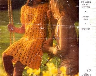 Pretty 1970s EMU Jagged Diamond Lacy Crochet Dress Pattern