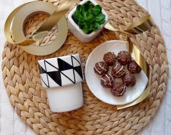 Scandinavian triangle - hand painted mug