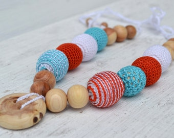 Orange turquoise White Nursing Necklace Teether Breastfeeding Necklace Teething necklace Crochet beads  Juniper beads Cotton Crochet Bead