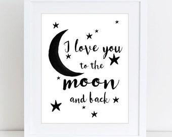 I love you to the moon, Scandinavian print, Baby, Nursery decor, Kids room, Digital art, Printable art, Digital poster Instant Download 8x10