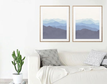 Landscape print, Abstract print, Abstract art, Navy Blue, Art, Modern art print, Digital art, Printable art, Digital Instant Download A3
