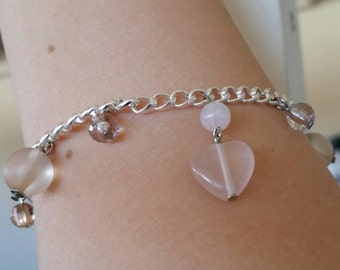 Silver and Blush Pink Bracelet and Earring Set