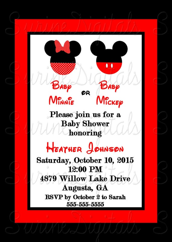 Baby Shower Invitations Mickey And Minnie ~ Minnie and mickey mouse baby shower invitation by