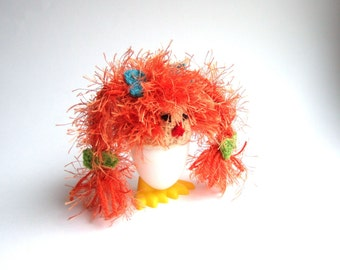 Cute Egg Cozy Ship's kobold girl. Candy sweet decoration for your breakfast table or for brunch