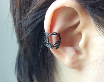 Reversible black wire ear cuff