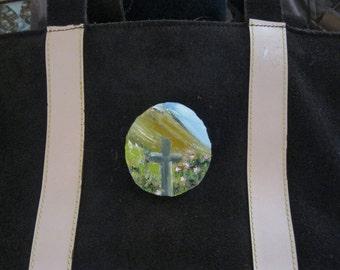 wood painted brooch