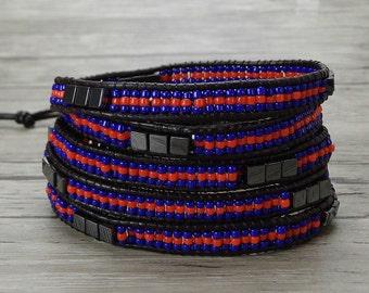 5 wraps bracelet Royal seed bead bracelet Yoga wrap bracelet bohemian wrap bracelet Leather wrap bracelet BOHO bead bracelet Jewelry SL-0388