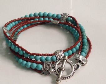 Turquoise and coral 2 wrap bracelet