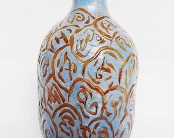 Vintage Art Pottery, Pottery Vase, Blue Vase, Brown Vase, Carved Vase
