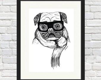 Cold Pug Sketch Print