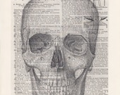 Skull Human Anatomy Vintage Dictionary Art Print Black and White Laser Ink Printed on Vintage Dictionary Pages One of a Kind