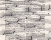 Honeycomb Print Vintage Dictionary Art Print Black and White Laser Ink Printed on Vintage Dictionary Pages One of a Kind