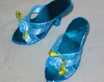 Miss Revlon 18 inch Blue Roses SHOES for 18 inch Miss REVLON, high heel shoes, fashion doll shoes, 18 inch fashion dolls