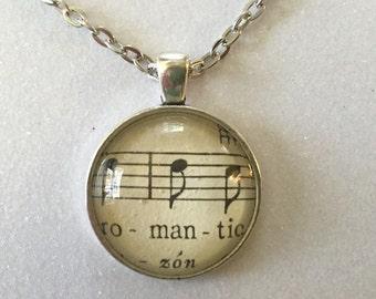 """Sheet music  """"romantic"""" pendant necklace"""