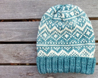 The Sweden Hat | Fair Isle| Blue and Off White | Merino Wool