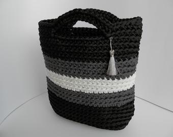 Crocheted handbag / handmade handbag / market sand bag / knit / color rope bag / women accessorie / lady accessorie / white grey black