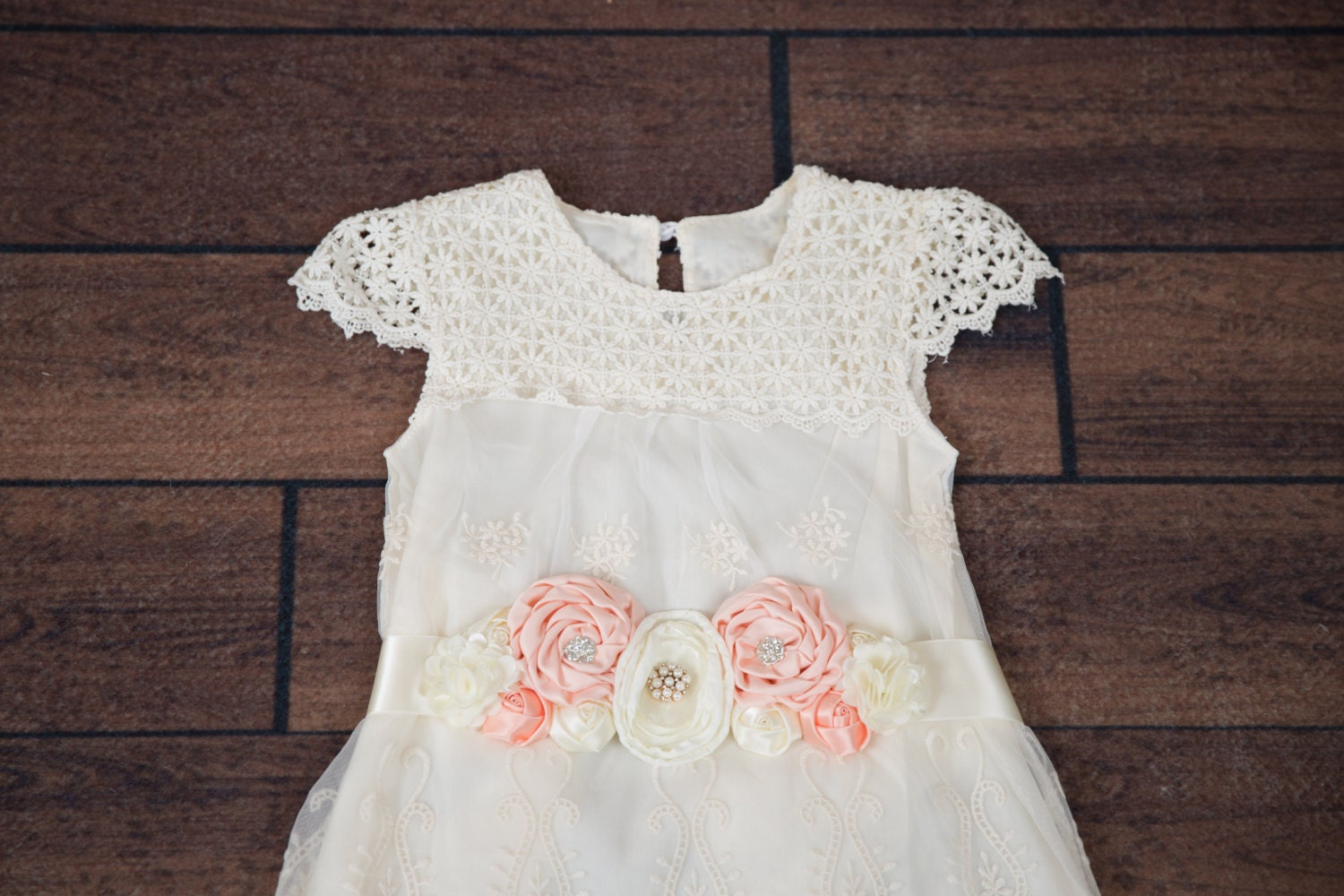 Ivory Flower Girl Dress Lace dress Champagne Wedding