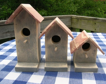 Pine Birdhouses - Gray Stained- Decorative for Porch, Deck, Patio, Garden, Indoor or Outdoor