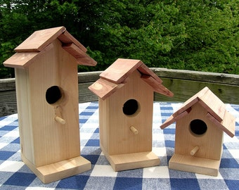 Cedar Birdhouses - Unpainted - Decorative for Porch, Patio, Deck, Garden, Indoor or Outdoor, Crafts
