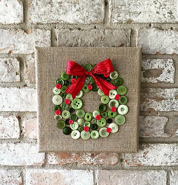Items Similar To Christmas Burlap Button Wreath Art On Etsy