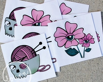 Flower & Knit Wit Vinyl Decals (Stickers)