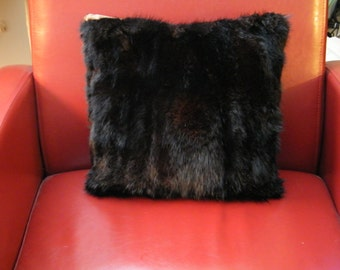 Genuine fur pillow, Black dyed muskrat fur cushion, fur toss cushion, rustic fur pillow